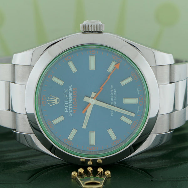 Rolex Milgauss 40mm Blue Stick Dial Automatic Stainless Steel Mens Oyster Watch 116400
