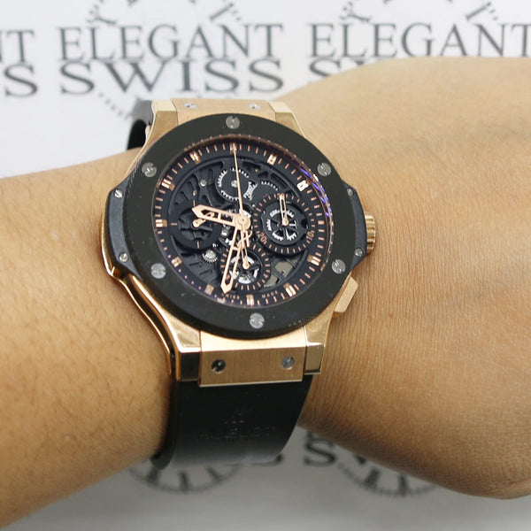 Hublot Aero Big Bang Skeleton Rose Gold Ceramic 44mm Chronograph Watch 310.PT.1180.RX Box & Papers