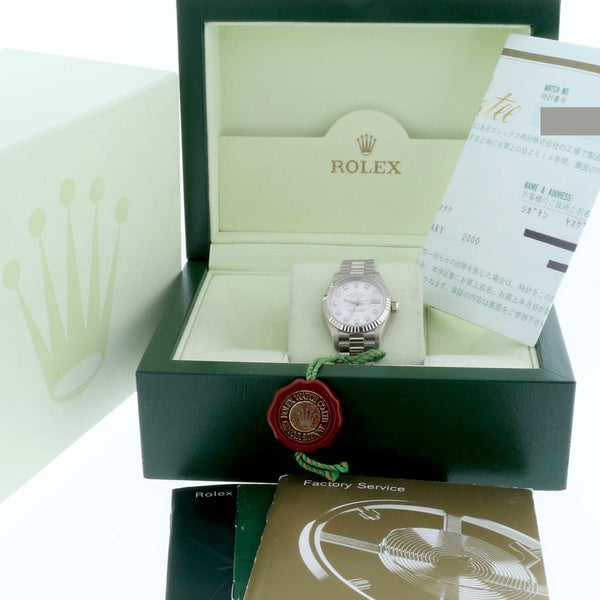 Rolex President Datejust Ladies 18K White Gold 26MM Original Diamond Dial Automatic Watch 69179