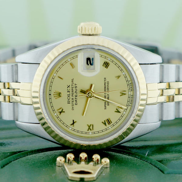 Rolex Datejust Ladies 2-Tone 18K Yellow Gold/Steel Original Champagne Roman Dial 26MM Jubilee Watch 69173