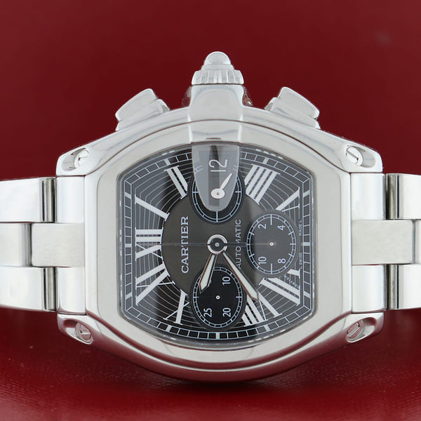 Cartier Roadster Chronograph XL 43mm Black Roman Dial Automatic Steel Watch W62020X6 Box Papers