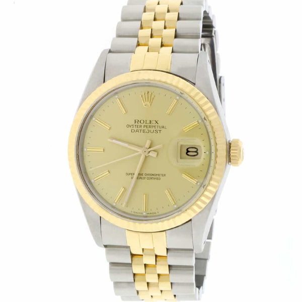 Rolex Datejust 2-Tone 18K Yellow Gold & Stainless Steel Original Champagne Dial 36MM Automatic Mens Jubilee Watch 16013