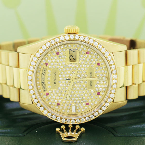 Rolex Day-Date 18K Yellow Gold 36MM Original President Bracelet Automatic Watch w/Pave Dial Diamond Bezel 18038 Box Papers