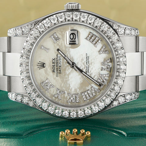 Rolex Datejust II Steel 41mm Watch 4.5CT Diamond Bezel/Lugs/White MOP Roman Dial Papers