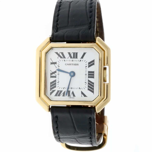 Cartier Paris 18K Yellow Gold White Roman Dial 28MM Ladies Watch