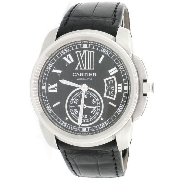 Cartier Calibre de Cartier Black Roman Dial 42mm Automatic Stainless Steel Mens Watch W7100041