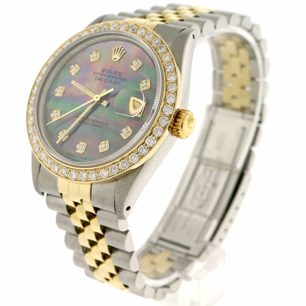 Rolex Datejust 2-Tone 18K Yellow Gold & Stainless Steel 36MM Automatic Jubilee Mens Watch w/Tahitian Diamond Dial & 1.9Ct Bezel