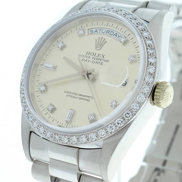 Rolex Day-Date 18K White Gold Original Diamond Dial 36MM Mens Watch 18239 w/Diamond Bezel