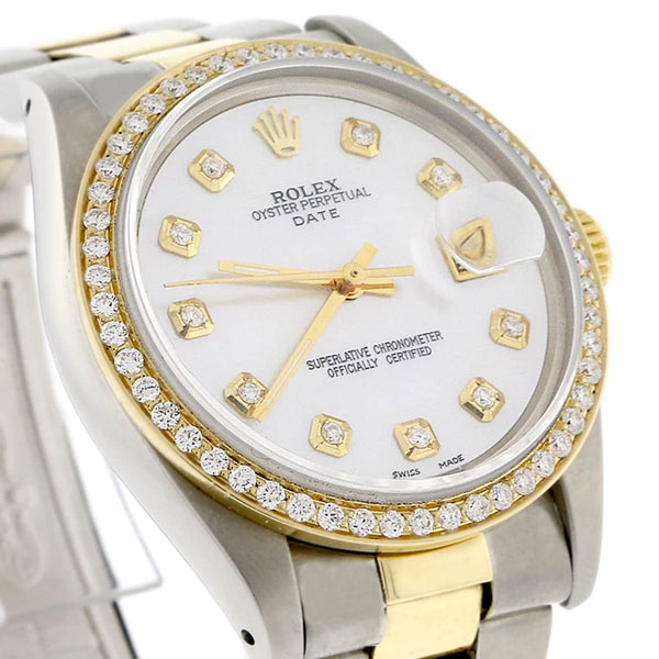 Rolex Date 2-Tone 18K Yellow Gold/Stainless Steel 34MM Automatic Oyster Watch 1505 w/MOP Diamond Dial & Bezel