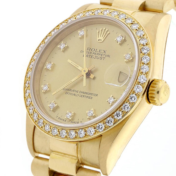 Rolex President Datejust Midsize 18K Yellow Gold Factory Diamond Dial 31MM Watch 68278 w/Diamond Bezel