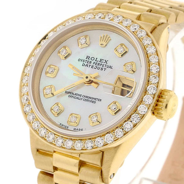 Rolex President Datejust Ladies 18K Yellow Gold 26MM Automatic Watch w/MOP Diamond Dial & Bezel