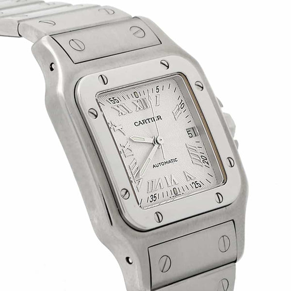 Cartier Santos Galbee Large 29MM Silver Roman Dial Automatic Stainless Steel Watch W20055D6