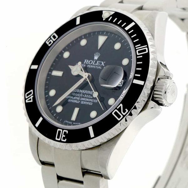 Rolex Submariner Black Dial 40MM Automatic Stainless Steel Mens Watch 16610T