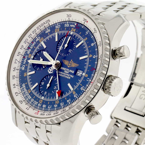 Breitling Navitimer World 46MM Chronograph GMT Blue Dial Automatic Stainless Steel Mens Watch A24322