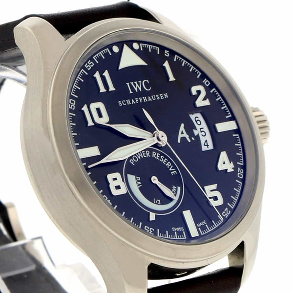 IWC 18K White Gold Saint Exupery Limited Edition Power Reserve Automatic Mens Watch 3201