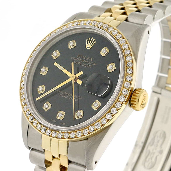 Rolex Datejust 2-Tone 18K Yellow Gold & Stainless Steel Jubilee Watch 36MM 16013 w/Diamond Dial & Bezel
