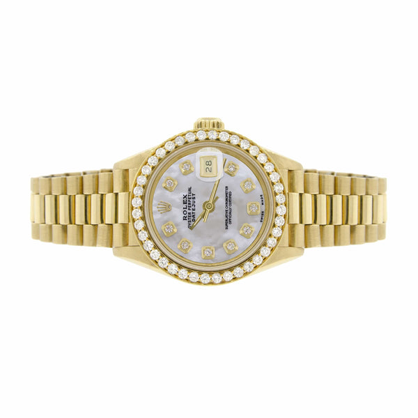 Rolex President Datejust Ladies 18K Yellow Gold 26MM Watch w/White MOP Dial & Diamond Bezel