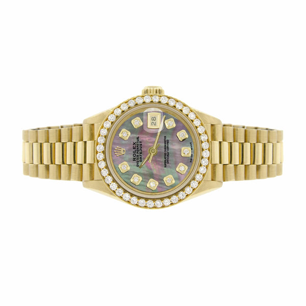 Rolex President Datejust Ladies 18K Yellow Gold 26MM Watch w/Tahitian MOP Dial & Diamond Bezel