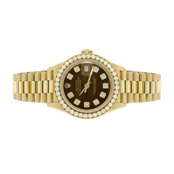 Rolex President Datejust Ladies 18K Yellow Gold 26MM Watch w/Cocoa Brown Dial & Diamond Bezel