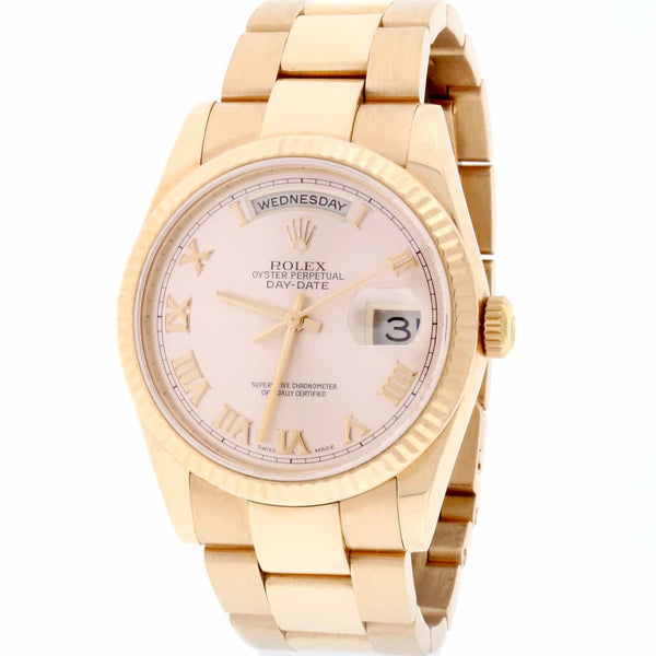 Rolex President Day-Date 18K Rose Gold 36MM Pink Roman Dial Automatic Mens Oyster Watch 118235