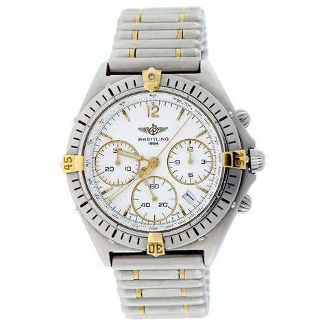 Breitling Chronomat Windrider Sextant Chronograph White Dial 36MM Stainless Steel Watch B55045
