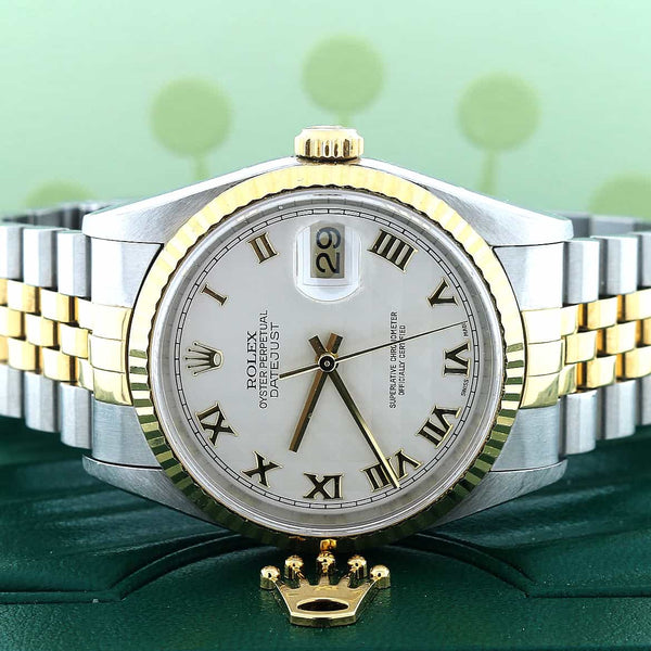 Rolex Datejust 2-Tone 18K Yellow Gold/Stainless Steel Original Ivory Pyramid Roman Dial 34MM Automatic Watch 16233