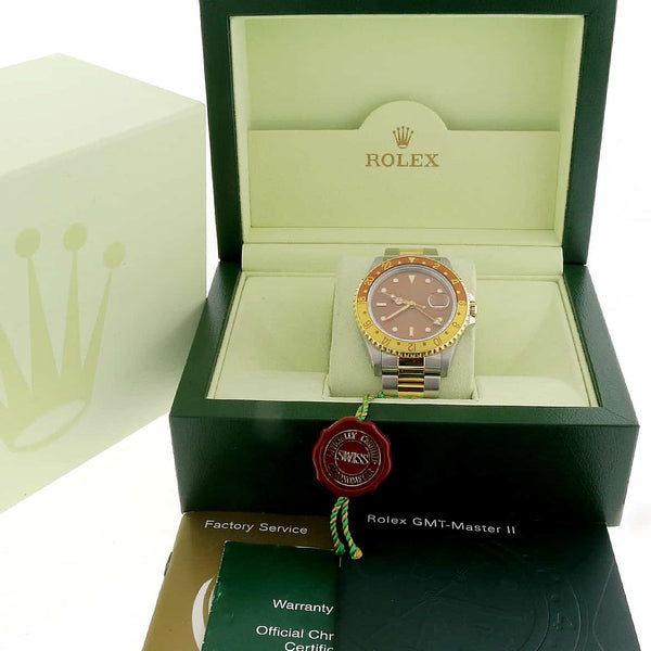 Rolex GMT-Master II 2-Tone Yellow Gold & Stainless Steel Root Beer Dial Automatic Mens Oyster Watch 16713