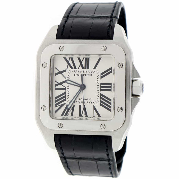 Cartier Santos 100 Large Silver Roman Dial Automatic Stainless Steel Mens Watch W20073X8