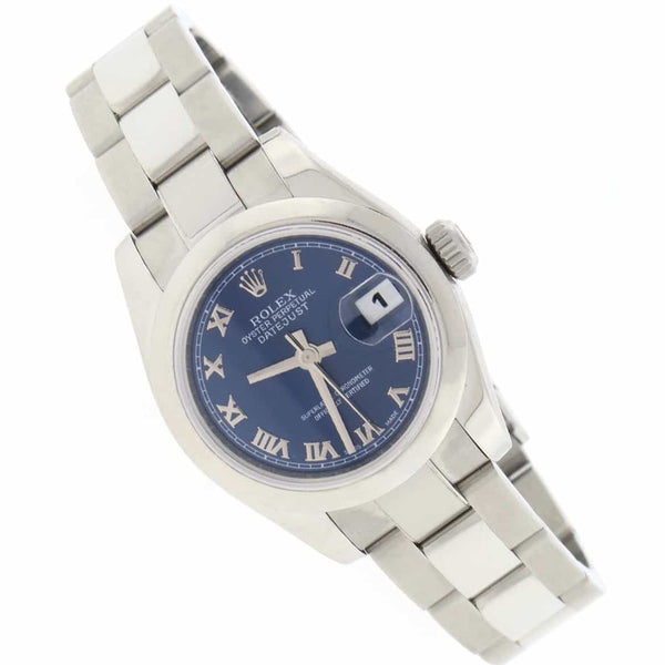 Rolex Datejust Ladies Blue Roman Dial 26MM Domed Bezel Automatic Stainless Steel Oyster Watch 179160
