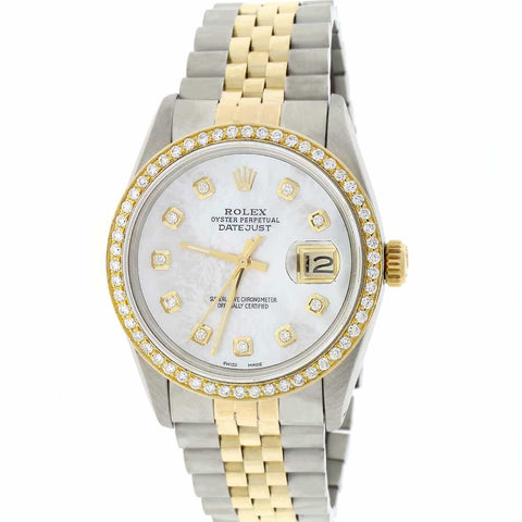 Rolex Datejust 2-Tone 18K Yellow Gold & Stainless Steel Diamond Bezel/Dial 36MM Automatic Jubilee Mens Watch