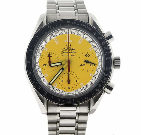 Omega Speedmaster Chronograph Michael Schumacher Yellow Dial 39MM Stainless Steel Mens Watch 351012