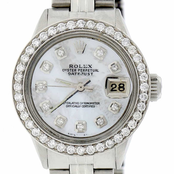 Rolex Datejust Ladies 26MM Automatic Stainless Steel Watch w/White MOP Dial & Diamond Bezel