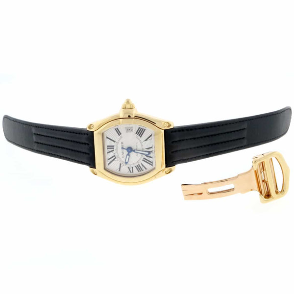 Cartier Roadster Large 18K Yellow Gold Silver Roman Dial Automatic Mens Watch W62005V1