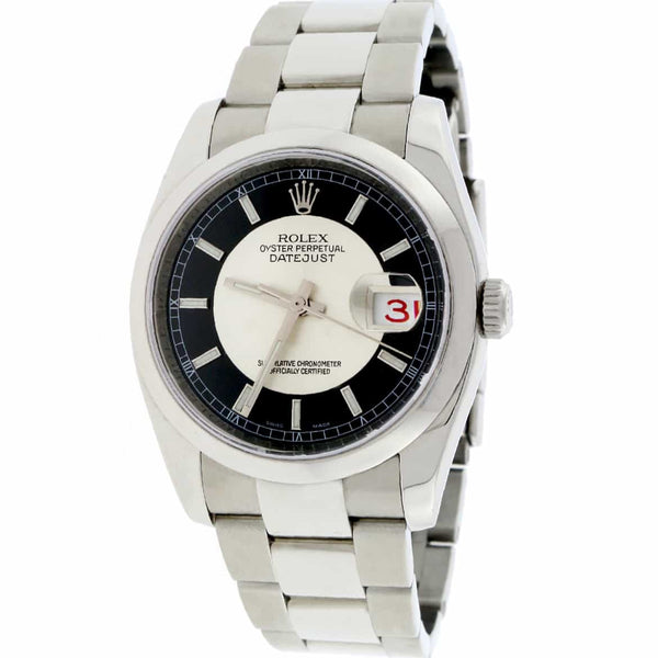 Rolex Datejust Black Tuxedo Dial 36MM Automatic Stainless Steel Oyster Mens Watch 116200