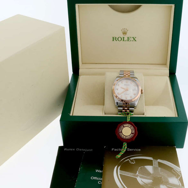Rolex Datejust 2-Tone 18K Everose Gold & Stainless Steel Original Silver Jubilee Diamond Dial 36MM Automatic Jubilee Mens Watch 116231