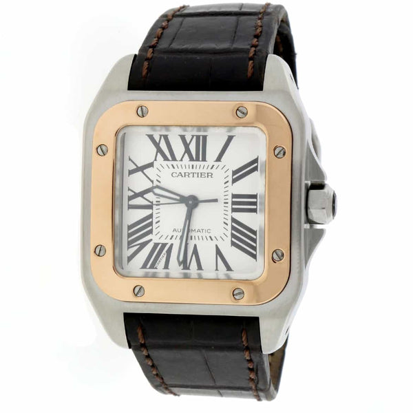 Cartier Santos 100 Midsize White Roman Dial 2-Tone 18K Rose Gold/Stainless Steel Watch W20107X7