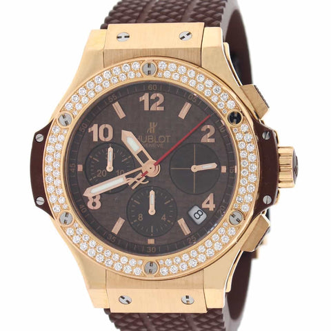 Hublot Big Bang Cappuccino 18K Rose Original Diamond Bezel 41MM Chronograph Automatic Mens Watch