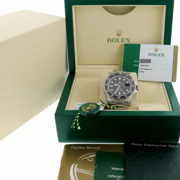 Rolex Submariner Date Ceramic Bezel Black Dial 40MM Automatic Stainless Steel Mens Watch 116610LN