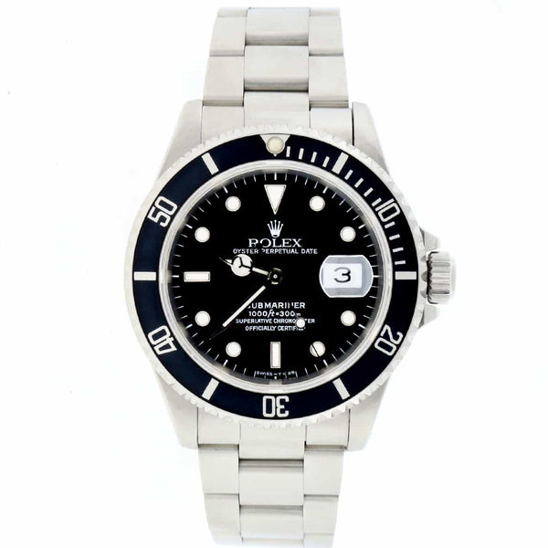 Rolex Submariner Date Black Dial 40MM Automatic Stainless Steel Mens Oyster Watch 16610