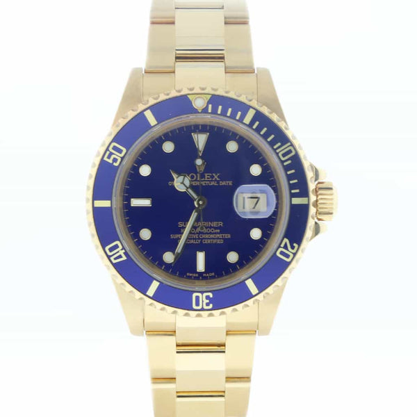 Rolex Submariner Date 18K Yellow Gold Blue Dial/Bezel 40MM Automatic Mens Watch 16618