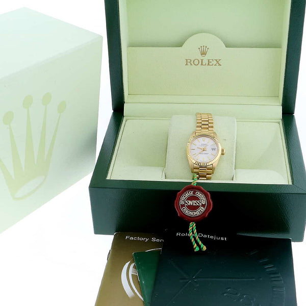 Rolex President Datejust Ladies 18K Yellow Gold Silver Stick Dial 26MM Automatic Watch 6917