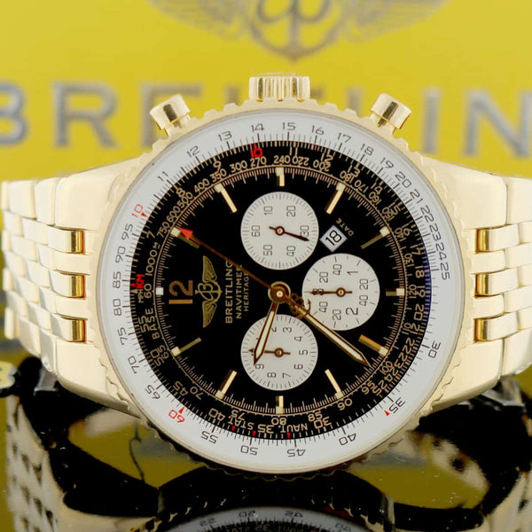 Breitling Navitimer World Heritage 18K Yellow Gold Chronograph Automatic Mens 43MM Watch K35340