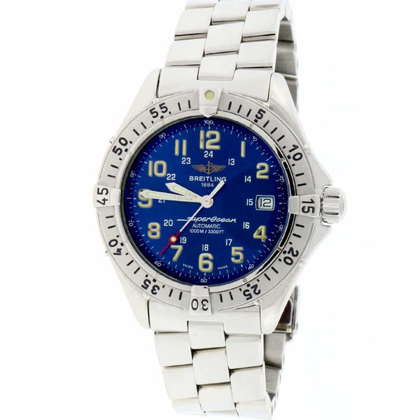 Breitling SuperOcean 42MM Blue Arabic Dial Automatic Stainless Steel Mens Watch A17040