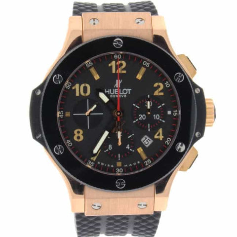 Hublot Big Bang Evolution 18K Rose Gold Ceramic Bezel Chronograph Mens Watch 301.PB.131.RX