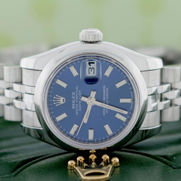 Rolex Datejust Ladies Original Blue Stick Dial 26MM Domed Bezel Automatic Stainless Steel Jubilee Watch 179160