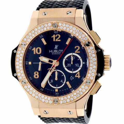 Hublot Big Bang 18K Rose Original Diamond Bezel 44MM Chronograph Automatic Mens Watch 301.PX.1180.RX.1104