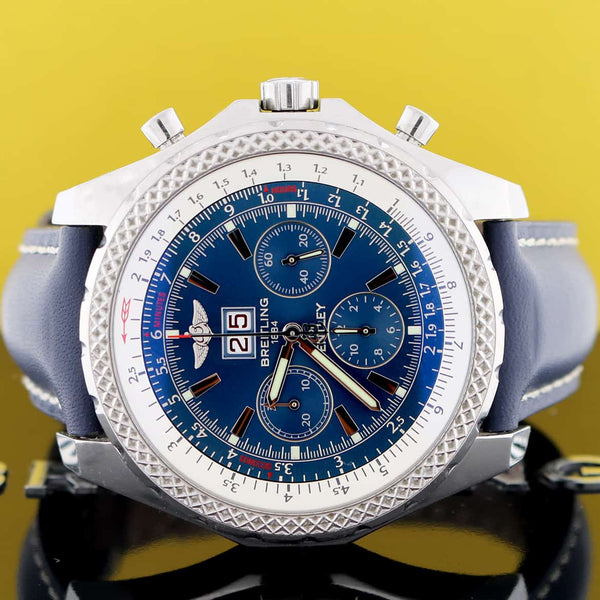 Breitling Bentley 6.75 Chronograph Blue Dial Big Date 49MM Automatic Mens Watch A44362