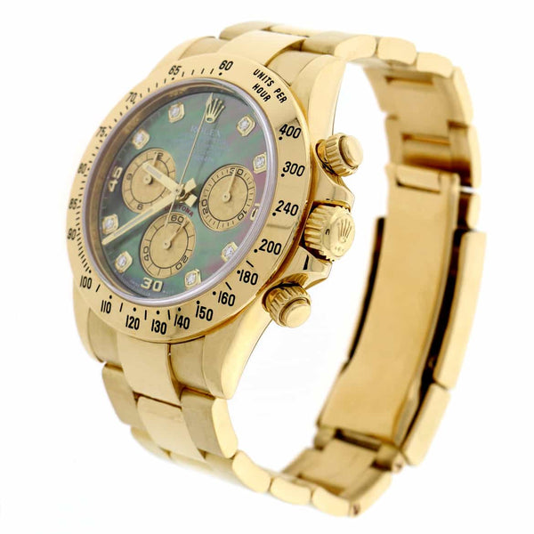 Rolex Cosmograph Daytona 18K Yellow Gold Original Dark Mother of Pearl Diamond Dial 40MM Automatic Mens Watch 116508