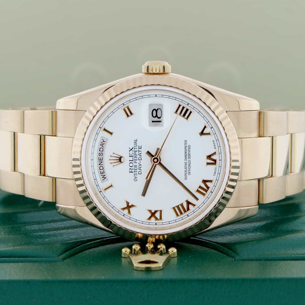 Rolex President Day-Date 18K Rose Gold 36MM White Roman Dial Automatic Mens Oyster Watch 118235