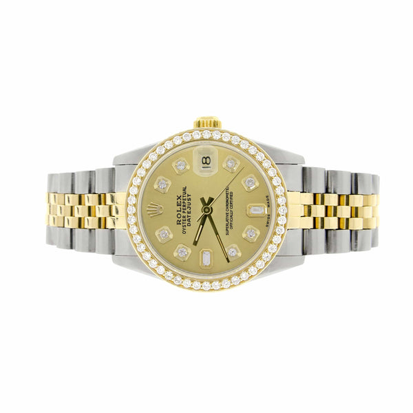 Rolex Datejust 2-Tone 18K Gold/SS Midsize 31mm Womens Watch with Champagne Diamond Dial & Bezel